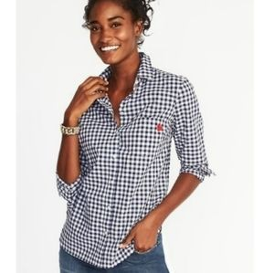 Old Navy Blue Gingham Embroidered Heart Top S